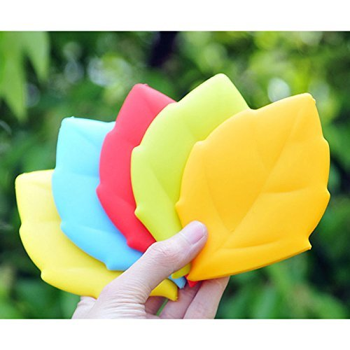 Stock Show 4Pcs Reusable Portable Travelling Outdoor Leaf Shaped Silicone Cup Pocket Water Cup Toothbrush Holder/Cover/Cap Bathroom Tumblers