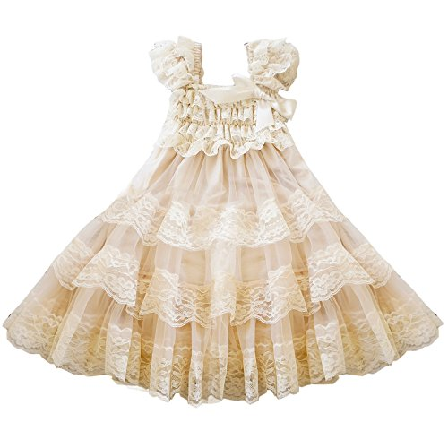 CVERRE lace flower rustic Burlap girl baby country wedding flower dress size M (Country Girl Clothing Dresses)