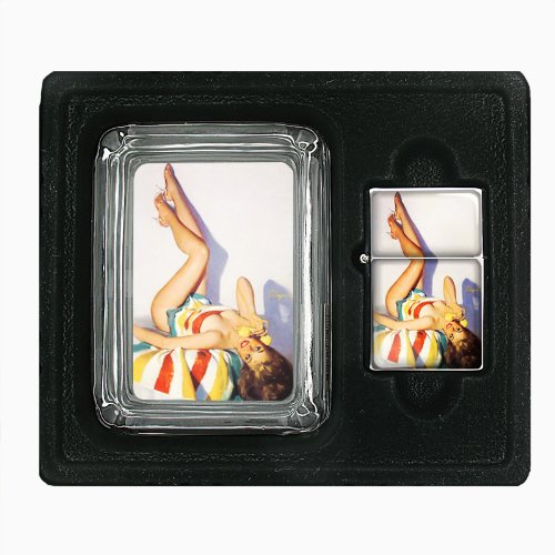Pin Up Retro Babe In Towel Glass Ashtray Oil Lighter Gift Set - In Glasses Babes