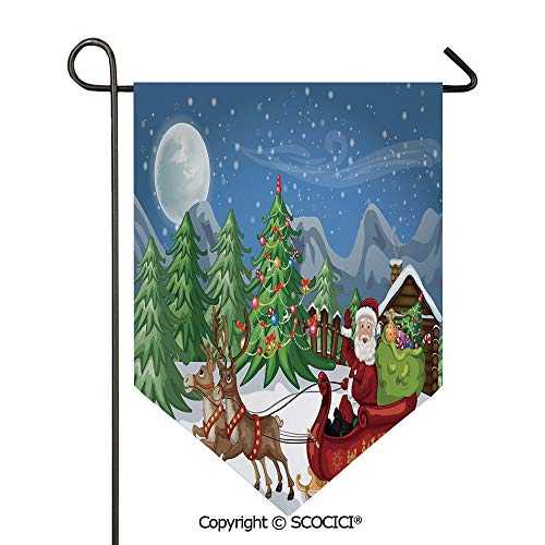 Easy Clean Durable Charming 28x40in Garden Flag Country Landscape at Night with Trees Santa Claus Snowdrift Reindeers Mountains Decorative,Multicolor Double Sided Printed,Flag pole NOT included ()