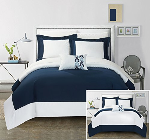pillon MODERN TWO TONE REVERSIBLE HOTEL COLLECTION, with embellished borders and embroidery decor pillow Queen Bed In a Bag Duvet Set Navy With White Sheets included (Papillon Pillow)