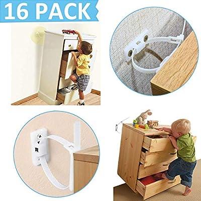 Anti Tip Furniture Kit Bearing 135Ib Furniture Wall Straps Furniture Anchors for Baby Proofing Safety Wall Anchor Nylon Straps Furniture Straps