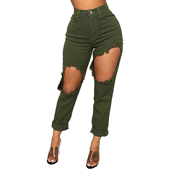 Muranba Women Jeans High Waist Stretch Slim Sexy Broken Hole ...