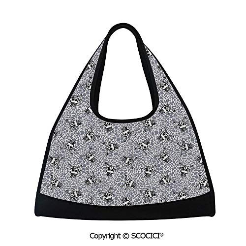 Badminton bag,Crowned Skull Crossbones Illustration Against Animal Print Pattern,Bag for Women and Men(18.5x6.7x20 in)