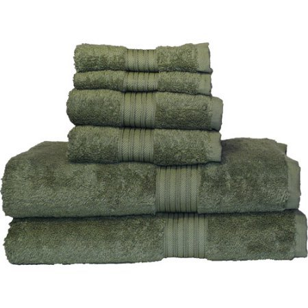 Ultraspun Soft Absorbant 6-Piece Towel Set | Each Towel is Crafter with Pride Using 100% Ring Spun Cotton for Softness & Absorbency (Moss) (Beach Towel Playboy)