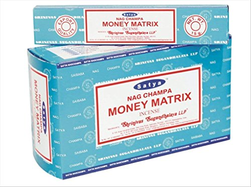 Satya Nag Champa Money Matrix Incense Sticks | Signature Fragrance | Net Wt: 15g x 12 boxes = 180g | Exclusively Made in India | Export Quality | Handrolled Non-Toxic Incense