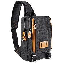 Messenger bag canvas small mens shoulder bag casual mini satchel (Black-1)