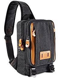 Messenger bag canvas small mens shoulder bag casual mini satchel (Black-1)