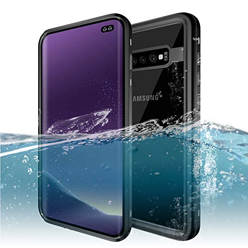 Galaxy S10 Plus Waterproof Case, ZERMU Shockproof Snowproof IP68 Underwater Full Body Protection Crystal Transparent Built-in Screen Protector Underwater Waterproof Case for Samsung Galaxy S10 Plus (Aluminum Hybrid Silicone)