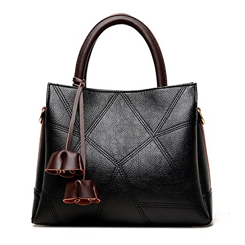 GWQGZ Black 2018 Brown Aire Casual Cosido Bolso Simple Bag Señoras Satchel Moda rHwqAPZr