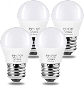 LED Refrigerator Light Bulb, ProPOW 40W Equivalent 120V A15 Fridge Bulbs 5 Watt Daylight White 5000K E26 Medium Base, Energy Saving Freezer Ceiling Home Lighting, Not-Dim, Waterproof, 4 Pack