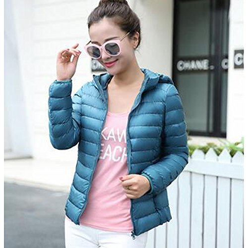 BOZEVON Women's Hooded Packable Ultra Lightweight Short Down Jacket Coat Blue