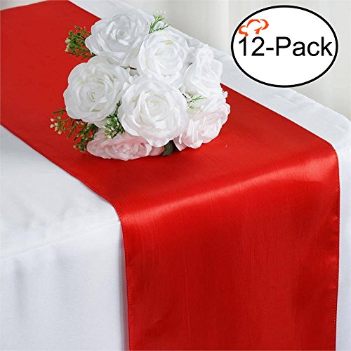Tiger Chef 12-Pack Red 12 x 108 inches Long Satin Table Runner for Wedding, Table Runners fit Rectange and Round Table Decorations for Birthday Parties, Banquets, Graduations, Engagements