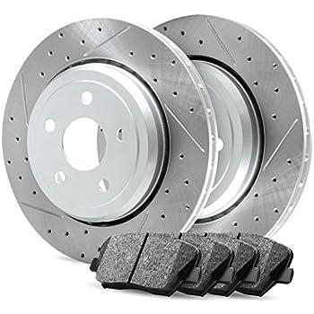 For 2012-2017 Ford F-150 Rear Black Drilled Brake Rotors Ceramic Brake Pads
