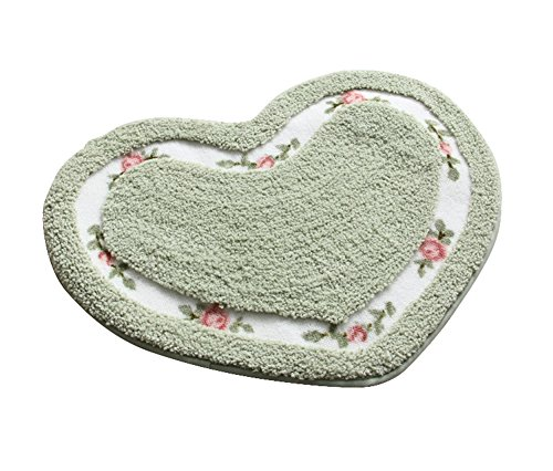 (JSJ_CHENG Small Non-Slip Cute Love Rose Floral Bath Area Doormat Rugs for Kids, Girls, Boys (Heart Shape 19.6-inch by 23.6-inch, Green))