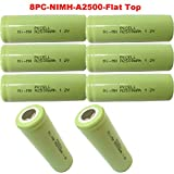 A 2500mAh 1.2V NI-MH Rechargeable Battery Flat Top PKCELL 8Pcs