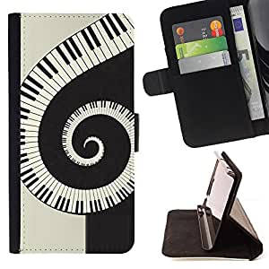 For Sony Xperia Z3 Plus / Z3+ / Sony E6553 (Not Z3),S-type Música espiral Piano- Dibujo PU billetera de cuero Funda Case Caso de la piel de la bolsa protectora