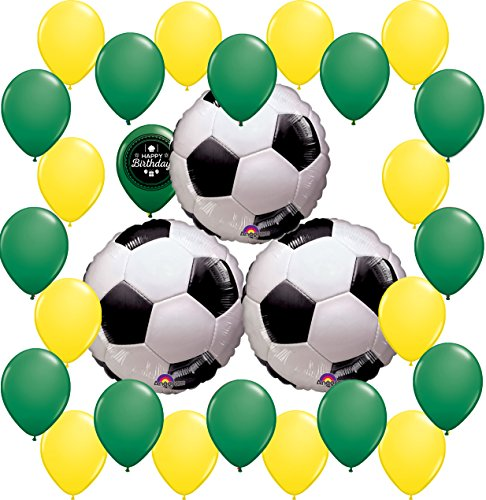 Combined Brands World Cup Soccer Ball Party Supplies Decorations Balloon Theme Bundle For (BRAZIL)