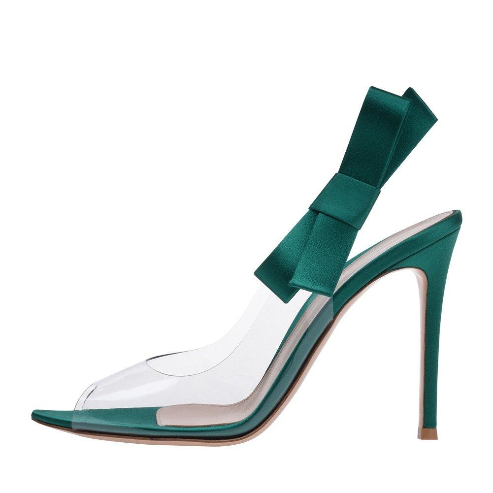 SYYAN SYYAN SYYAN Femmes Transparent PVC Nœud Papillon Bouche de Poisson Manuel Pompe Talons Hauts Robe Sandales, vert, 42 727