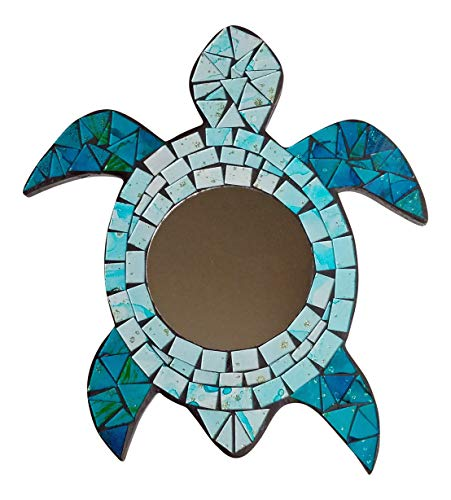Tidal Expressions Decorative Turquoise Blue Mosaic Framed Accent Mirror – Sea Turtle Shape Wall Plaque for Coastal Decor, 11.25 x 10 Inches