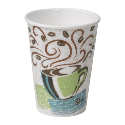 Dixie PerfecTouch 8 oz. Insulated Paper Hot Coffee Cup by GP PRO (Georgia-Pacific), Coffee Haze, 5338DX, 500 Count (25 Cups Per Sleeve, 20 Sleeves Per Case)
