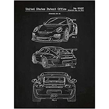 Inked and Screened SP_AUTO_623,557_CH_24_W Porsche Automobile Design Patent Art Poster Silk Screen Print, Chalkboard, 18