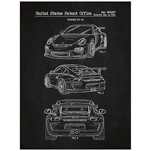- Inked and Screened SP_AUTO_623,557_CH_24_W Porsche Automobile Design Patent Art Poster Silk Screen Print, Chalkboard, 18