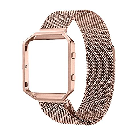 Fitbit Blaze Accessory Band,Small (5.5-6.7 in),Oitom Frame Housing+Milanese loop Stailess Steel Band for Fitbit Blaze Smart Fitness Rose (22mm Mesh Watchband)