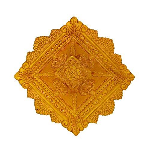 Craft Art India Handmade Earthen Clay / Terracotta Decorative Dipawali / Diwali Diya / Tealight / Oil Lamps for Pooja / Puja , Size(CM):4.5x16x16