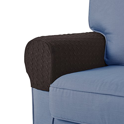 Guken Armrest Covers Anti-Slip Spandex Armchair Slipcovers Elastic Stretchable Furniture Protector (Coffee, 2pcs) by Guken