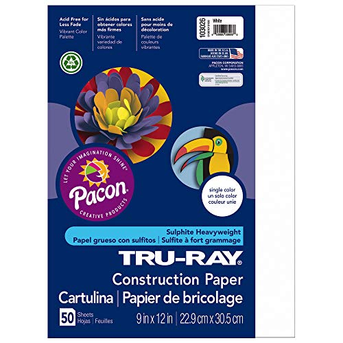 Weight 50 Sheet - Tru-Ray Heavyweight Construction Paper, White,  9