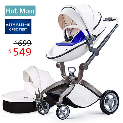 Baby Stroller 2018, Hot Mom Baby Carriage with Bassinet Combo,White,Baby Bid Gift
