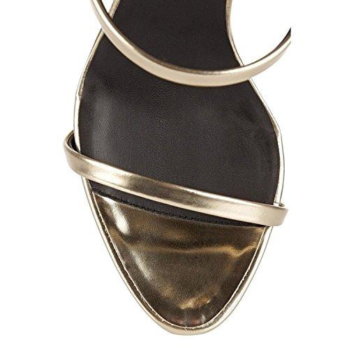 Coolcept Donne Moda Metallo Colore Sandali Gladiatore Strappy Tacco Alto Estate Scarpe Vestito Argento