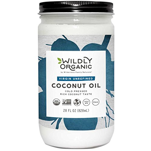 Organic Coconut Oil - Virgin Unrefined (Same as Extra Virgin) Cold Pressed, Non-GMO, Vegan, Raw, Glass Jar, Wildly Organic - 28 FL OZ