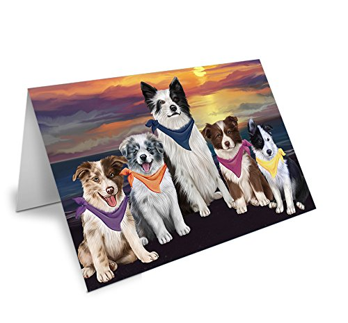 Family Sunset Portrait Border Collies Dog Greeting Card GCD54746 (10)