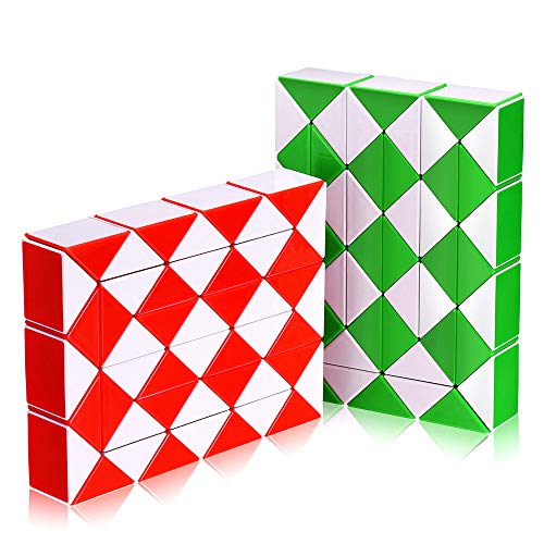 (Snake Speed Cube Puzzle Toys 48Parts Twist Magic Ruler Cube Pack Hand Fidget Toy Games Set for Kids Children Adults | White)
