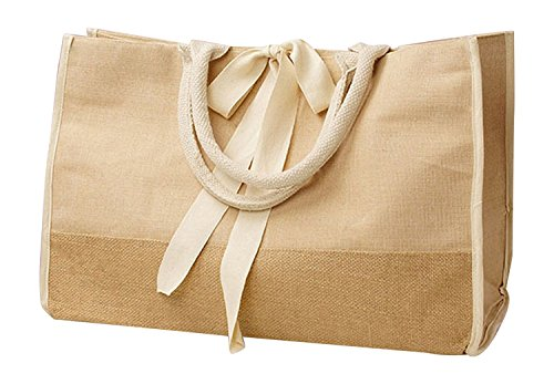 Reusable Jute Burlap Bags for Grocery Shopping, Travel, Daily Use Carry-All Tote (Natural)