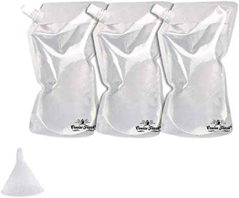 4x32oz, 2x16oz, 2x8oz + Funnel Booze Cruiser Flask Set Perfect For Cruises and Travel or Anywhere You Want a Rum Runner Cocktail Plastic Flask Kit