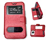 BKDT Marketing Leather finish Flip Cover Case Stand Diary Style for MICROMAX Canvas 6 Pro E484 with Dislay Window and Stand - Red