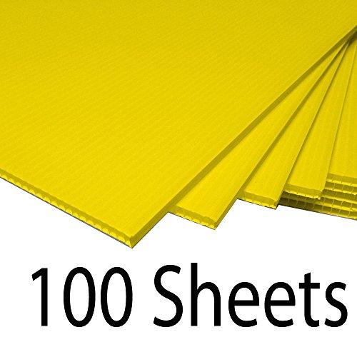 Greenstar Corrugated Plastic Cardboard Sign Blank Short Fluted 24 x 18 4mm - 100 Yellow Sheets