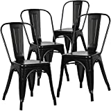 Trattoria Armless Metal Side Dinning Room Chairs Set of 4 (Black)