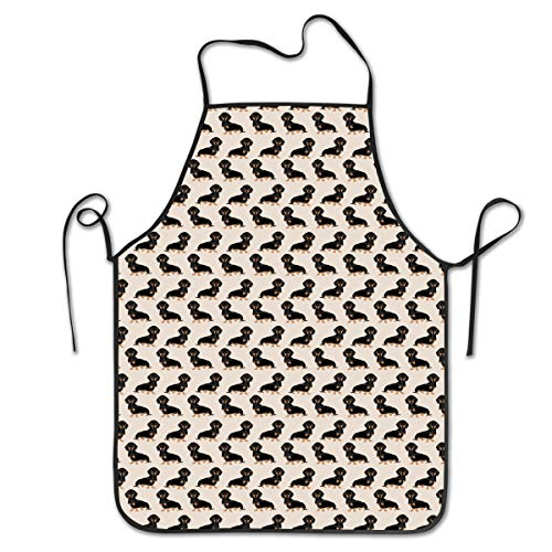 (COLOMAKE Women Men Premium Quality Kitchen Aprons Wiener Dog Fabric Doxie Dachshund Weiner Pet Dogs Overlock Washable Durable String Apron for BBQ Cooking Working Grilling Baking)