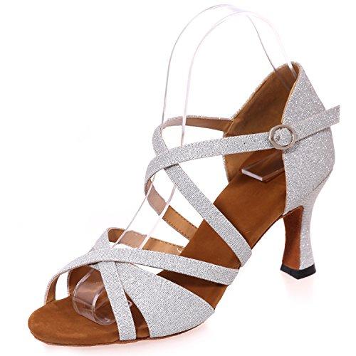 Modern Jazz Prom A8349 White da 34 5cm Scarpe Fibbia Ballo 42 on Elobaby Peep Heel Toe 7 Donna da Slip Kitten 4c0YR746H