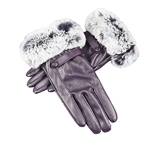 Price comparison product image Ladies Winter Gloves Women Touchscreen Faux Leather Warm Ski Mittens Afterso
