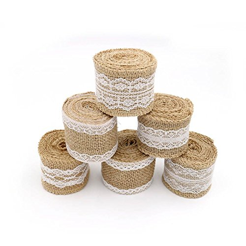 6 Pcs 6.5 Feet/2 M Jute Burlap Rustic Ribbon Roll with White Lace for DIY Handmade Wedding Crafts