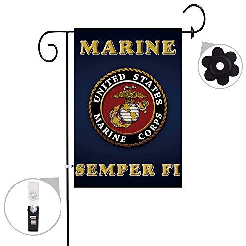 Hexagram Marine Corps USMC Garden Flag Burlap Outdoor Decorative Double Sided Seasonal Yard Flag 12x18 inch Prime