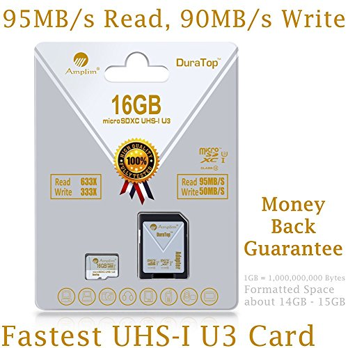 16GB Micro SDHC SD U3 Card Plus Adapter Pack. Amplim Pro Class 10 UHS-I Extreme MicroSDHC 95MB/s Read, 50MB/s Write Ultra High Speed HD UHD 4K Video. Internal/External MicroSD Storage Flash TF Memory (Profile Elite Back Hub compare prices)