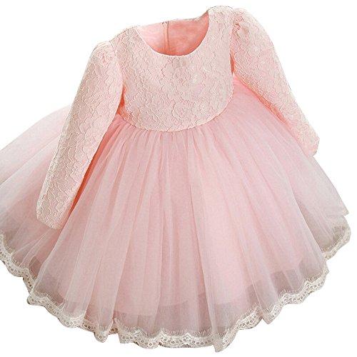 OTINICE Cute Little Girls Long Sleeve Dress Princess Flower Lace Bowknot Dress (5T/120, ()