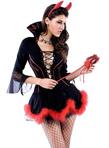 [Joloyn Women's V Neck Halloween Charming Miss Iblis Devil Little Devil Costumes] (Hot Halloween Costumes Devil)
