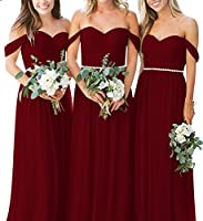 XJLY Off The Shoulder A Line Long Chiffon Bridesmaid Dress Prom Gowns